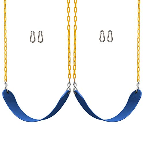 Jungle Gym Kingdom Swings for Swing Set - Heavy Duty Parts, Chain & Seat - Replacement Playground Accessories Kit for Kids Backyard Outdoor Swingset (2 Pack Blue)