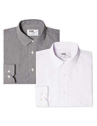 find. 2 Pack Slim Fit, Camicia Business Uomo, Mehrfarbig (Gingham Black / White), M(Pacco da 2)