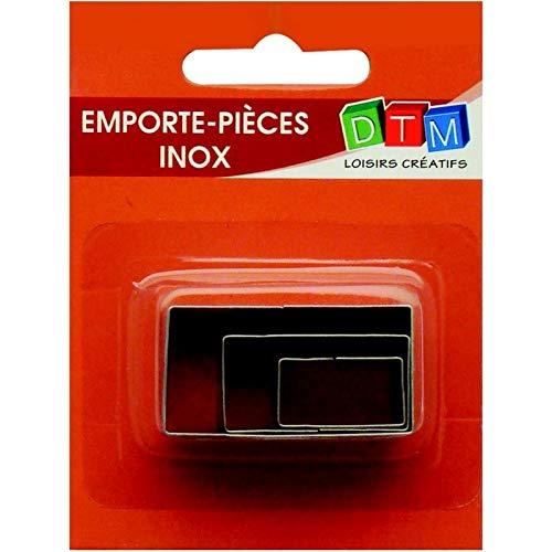 Graine Créative Lot de 3 minis emporte-pièces Rectangles en INOX Alimentaire, coté 2,3,4 cm