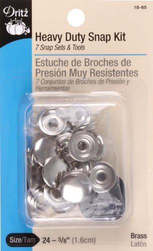 Dritz 18-65 Heavy Duty Snap Fastener Kit, Size 24 (5/8-Inch), Nickel-Plated Brass, 7 Sets