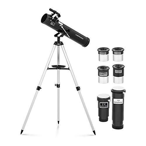 Uniprodo Uni_Telescope_06 Teleskop 700 mm Ø 76 mm Tripod-Stativ Barlowlinse Mondfilter Okularauszug 1,25