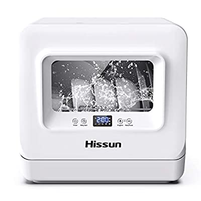 HISSUN Compact Portable Countertop Dishwasher 5 Washing Programs Portable Washer,3D Cyclone Spray, With Dishwashers Faucet Adapter, High-Temperature Clean, Child Lock