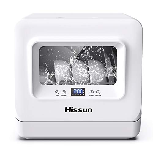 HISSUN Compact Portable Countertop Dishwasher 5 Washing Programs Portable Washer,3D Cyclone Spray,...