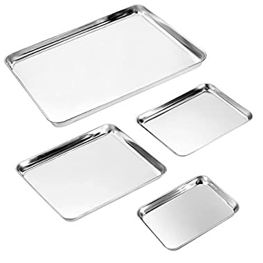 Baking Sheet Set of 4, Zacfton Stainless Steel Cookie Sheet Set 4 Pieces Toaster Oven Tray Pan Rectangle Size Non Toxic & Healthy,Superior Mirror Finish & Easy Clean, Dishwasher Safe