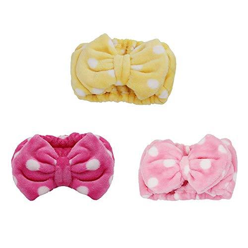 Gobesty Diadema de cara de lavado de nudo de lazo, lindo patrón de nudo de lazo Banda de pelo cosmético de maquillaje de envoltura de pelo, rosa rojo, rosa, amarillo