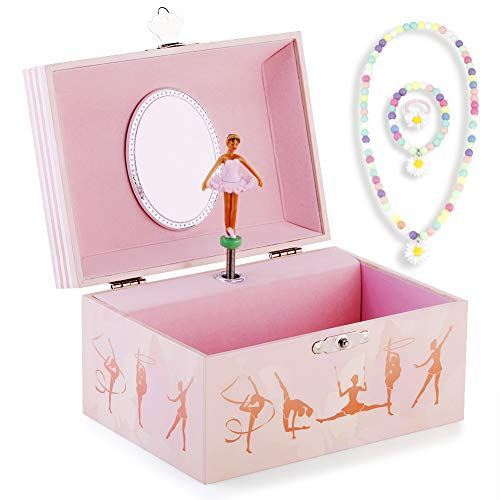 RPJC Kinder Musik - Glocke Schmuckkästchen - Box Speichern und Set für Schmuck mit Schwarz Mädchen Gymnastik Thema - Der Schwanensee Tune Pink