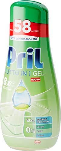 Pril Gel Green Todo en 1, Detergente para lavavajillas en gel, 4 paquetes de 58 lavados