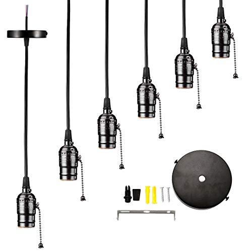Portalámparas Lpraer 6 E27 para colgar, 1,2 m, de metal, con interruptor para lámpara de techo