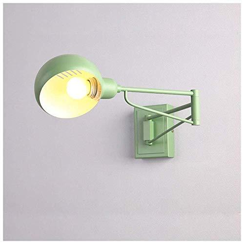 Lámpara de pared debrazo oscilante largo ajustable Apliques de pared de metal para interiores modernos Lámparas de lectura de cabecera E27 Lámparas de trabajo montadas en la pared Estudio Dormitorio