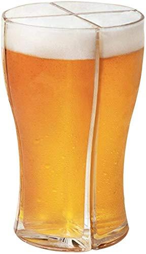 Timemory Super Schooner - Set di 4 bicchieri da birra in vetro leggero e creativo, 4 in 1, per feste di Natale