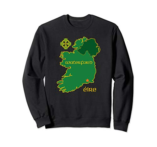 Waterford Ireland Vacation Travel Map Tourist Celtic Cross Sweatshirt