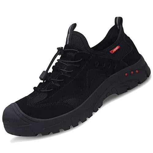 Koyike Unisex Zapatos de Trabajo Zapatos Anti-Sensacional Acero Casquillo de Seguridad Resistente a la perforación Zapatos de Seguridad Antideslizantes Zapatos Deportivos,Black-43