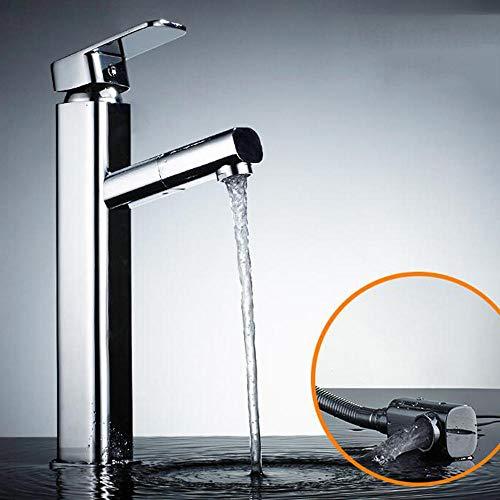 ottonato, miscelatore lavabo bagno, rubinetto bagno lavabo, rubinetto bagno con doccetta estraibile, pomello, rubinetto miscelatore acqua calda, estensibile, Cromatura-A, rubinetto bagno lavabo alto,