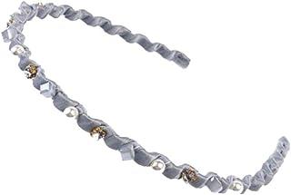 Rhinestone Hard Headbands Non-slip Teeth Hairband for Women Blue