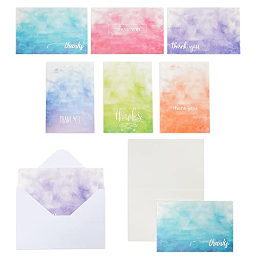 Blank Thank You Cards with Envelopes, Ombre Watercolor Designs (4x6 In, 48 Pack)