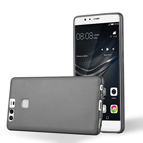 Cadorabo Funda para Huawei P9 en Metallic Gris - Cubierta Proteccíon de Silicona TPU Delgada e Flexible con Antichoque - Gel Case Cover Carcasa Ligera