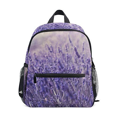 Small School Bag Lavender Flower Purple Mauve Backpack for Girl Boy Children Mini Travel Daypack Primary Preschool Student Bookbag