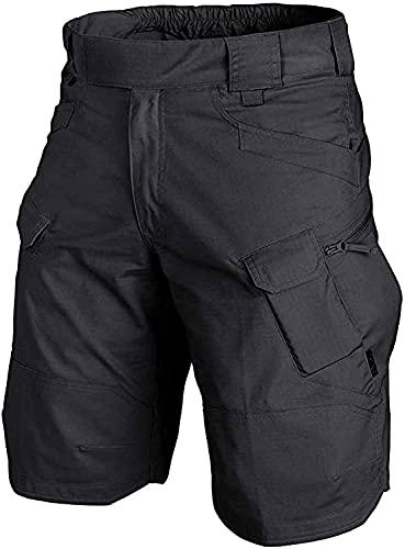 Pantalones Cortos para Hombre clásicos de Carga tácticos al Aire Libre Impermeable Senderismo de Secado rápido Transpirable Pantalones Cortos de Entrenamiento Casual (Black,5XL)