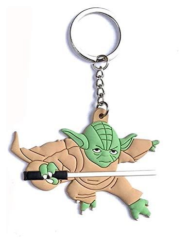 El niño bebé Yoda Llavero Llavero Material de silicona 8cm Star Wars Yoda Llavero Adecuado para árbol de Navidad, Mochila, Llavero del coche, Adornos colgantes decorativos Pequeño colgante B baby yoda