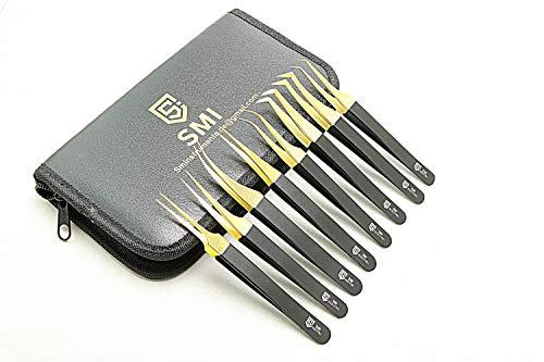 SMI - 8 pièces Pince à cils kit pince à cils pour extensions pointe droite incurvée fine Acier inoxydable précision pince à épiler pour faux cils 3D-6D couleur noir et or, avec pochette