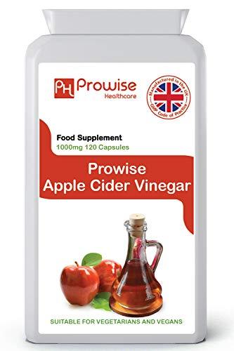 Äppelcidervinäger 1000 mg - 120 kapslar - Tillverkad i Storbritannien | GMP-standarder från Prowise Healthcare