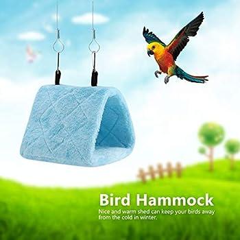 TOPINCN Pivoine Perroquet Hamac Nid D'oiseau Chaud Doux Hamac en Peluche Suspendu Cage Tente pour Oiseaux Perroquet Hiver Chaud Lit Pet Jouet Poche Coton Lit(S- Bleu)