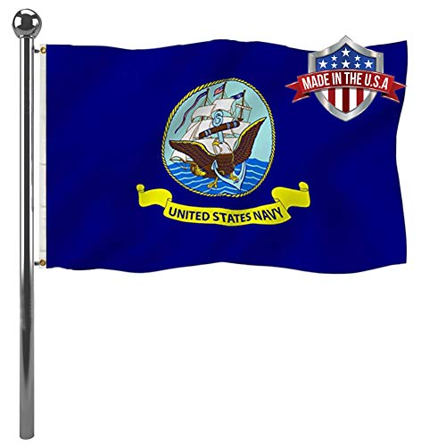 US Navy Flag 3x5 Ft- Vivid Color United States Naval Military Flag- Double Stitched USNA Army Flags with 2 Brass Grommets Banner and UV Fade Resistant