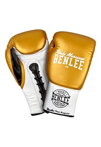 BENLEE Rocky Marciano Unisex– Erwachsene Newton Leather Contest Gloves, Gold/White/Black, 08 oz R