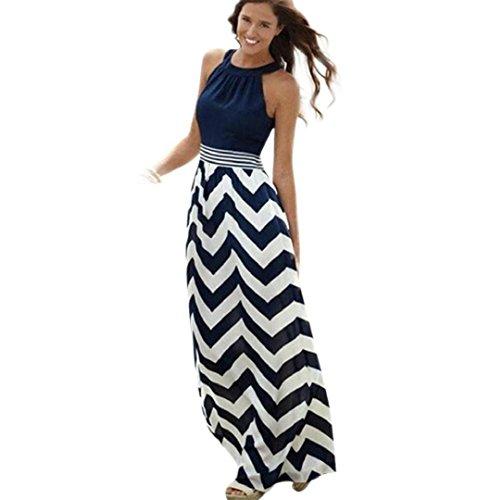 ZEZKT Blau Streifen Maxikleid, Damen Sommerkleid Kleider Schulterfrei Rundhals High Waist Lang Kleid Partykleid (XXXL)