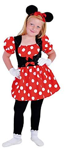narrenkiste Disfraz infantil de Mickey Mouse M212007-164, color rojo y negro, talla 164