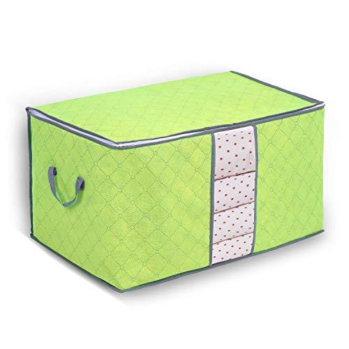 Yosoo Aufbewahrungsbox aus Bambuskohle, 1 Stück, mit Reißverschluss, groß, langlebig, faltbar, für Kleidung, Steppdecken, Kissen, Decken grün