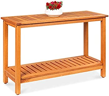 Best Choice Products 48 Inch 2-Shelf Eucalyptus Wood Console Table