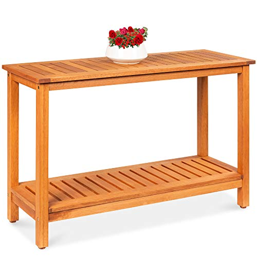 Best Choice Products 48in 2-Shelf Eucalyptus Wood Console Table Indoor Outdoor Multifunctional Buffet Bar Storage Organizer w/Natural Finish, Sliders