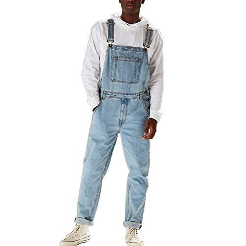 Caige Uomini di Modo Jeans Slim Retro di Un Pezzo di Jeans Salopette,Blu,XL