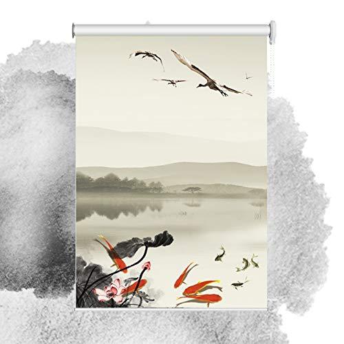 ZENGAI Protección UV Noche y día Estor Enrollable, Pintura de Tinta Anti-UV Día y Noche Persianas, Personalizable 2 Estilos (Color : A, Size : 80cm(w) x180cm(h))