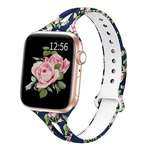 Bagoplus Compatible with Apple Watch Band 44mm 42mm 40mm 38mm for Women, Soft Silicone Pattern Printed iWatch Bands 38mm 40mm 42mm 44mm Womens Replacement Sport Band for iWatch Series 5 4 3 2 1