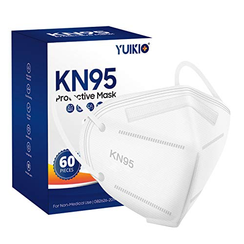 YUIKIO KN95 Face Mask, 60 Pack Cup Protective Masks, Filter Efficiency≥95%, 5 Layers Filter Safety Mask Against PM2.5 Disposable KN95 Respirator Masks (White)