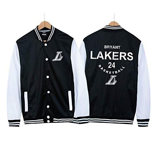 Lakers No. 24 Kobe Uniforme de béisbol Chaqueta de Baloncesto Hip-Hop para Hombre Chaqueta Bomber, Fina Primavera y otoño Black-3XL