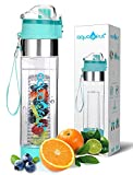 New Improved Unique Bottom Loading Fruit Infuser Water Bottle Complete Bundle Includes Bottle Brush, Insulating Sleeve & Infusion Recipe eBook. Leak Proof Sweat Proof BPA-Free (Teal)
