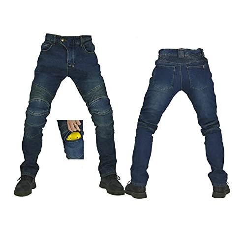 Schwarze Bikerjeans Für Damen Gepanzerte Motorradhose Für Männer Und Frauen Knie Und Untere Taille Plissiert Design Leicht An- Und Auszuziehen, Hohe Elastizität ( Color : Blue A , Größe : L )