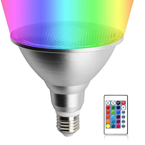 20W LED PAR38 RGB Floodlight Bulb, Lustaled Waterproof Dimmable 16 Color Changing Spotlight E26 Base with Remote Control for Home Party Holiday Courtyard Decoration Lighting