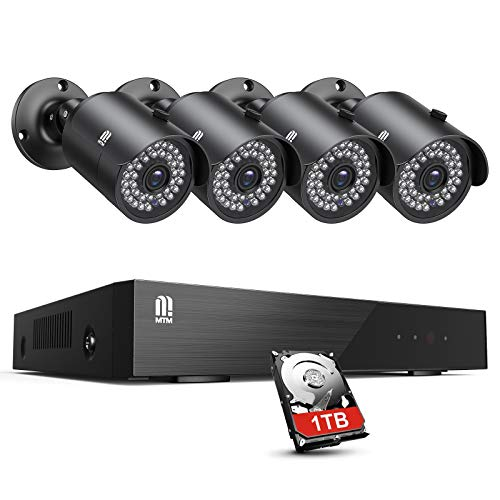 MTM 8CH 5MP CCTV Full HD Kit de videovigilancia Exterior, H.265+ Sistema de Seguridad DVR Cámara Vigilancia con 4 Cámaras, 30M Visión Nocturna, Detección de Movimiento, Monitoreo Remoto, 1TB HDD