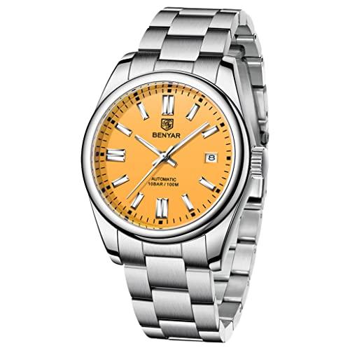 BENYAR Casual Minimalista Hombres Relojes Automáticos Stianless Acero Impermeable Luminoso Moda Vestido Mecánico Reloj, amarillo,