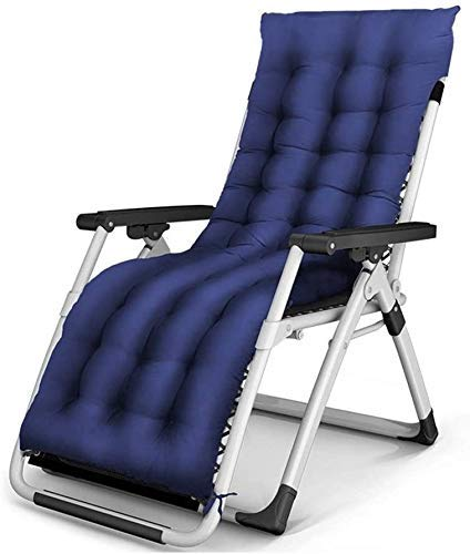 WJXBoos Extra Grande reclinable reclinable Plegable Ajustable para jardín de Playa Silla de jardín Extra Grande con Soporte para cojín de Cuello 200 kg (Color: con Almohadilla de algodón Negro)