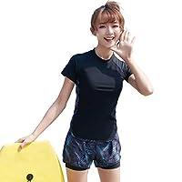 Teddy フィットネス 水着 レディース セパレート 体型カバー ショートパンツ ラッシュガード 水泳帽 3点セット hys2405 (D:ダークパーム, 3L)