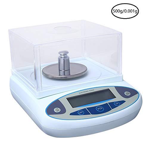 InLoveArts precisieweegschaal laboratoriumweegschaal precisieweegschaal met nauwkeurige kalibratie nauwkeurigheid analytische elektronische weegschaal met voorruit stabiel wegen 200/300/500g/0,0001g, Max 500g
