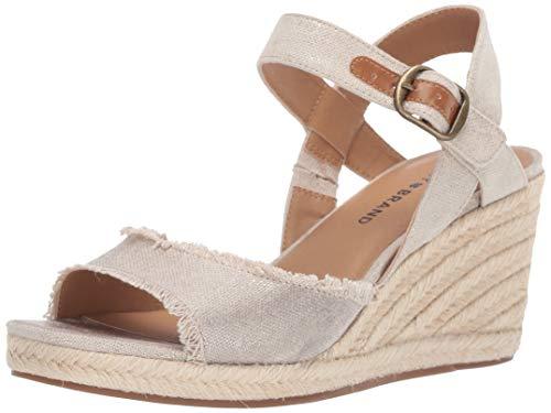 Lucky Brand Women's MINDRA Espadrille Wedge Sandal, Natural/plat, 8 M US