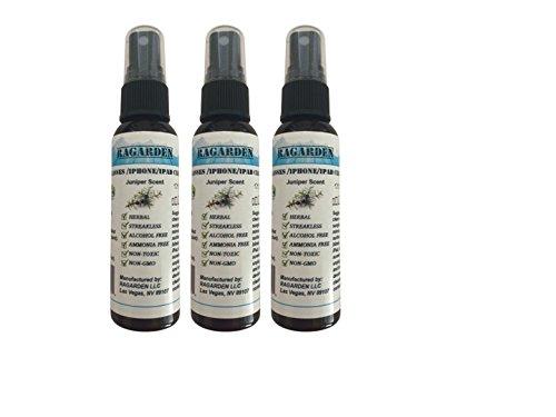 RAGARDEN Eyeglasses/iPhone/iPad Cleaner. Juniper Floral Water. Bulk Quantity (3) of 2oz Spray Bottles.