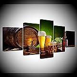 HJIAPO Composición De 5 Cuadros De Madera para Pared Barril De Cerveza Impresión Artística Imagen Gráfica Decoracion De Pared Abstracto150*80Cm
