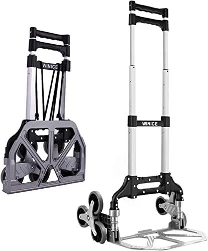 Carretilla de mano plegable ruedas grandes Carretillas para Escaleras Portátil Carretilla Salvaescaleras de 6 Ruedas, Carretilla de Mango Extralargo de 100 cm, 75 kg de Capacidad